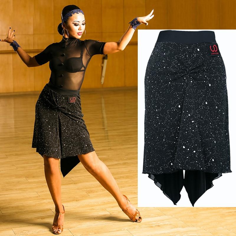 2019 Latin Skirt Black Dancing Skirt Sequin Perform Clothes Women Modern Rumba Clothes Salsa Tango Skirt Latin Dance Dress BI117