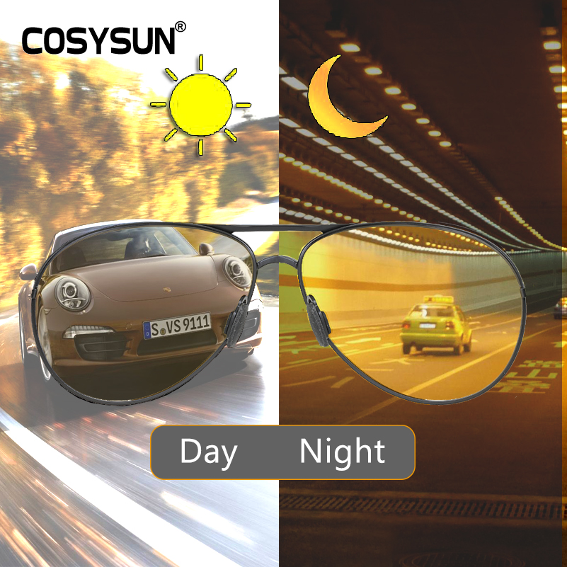 All Weather Pilot Photochromic Sunglasses Polarized Night Vision Glasses Men Oculos Driver Yellow Driving Glasses Gafas De So