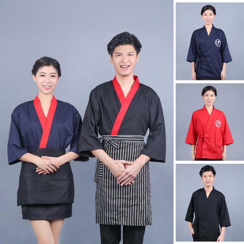 Japanese Korea Cooking Food Service Kimono Unisex Jacket Kitchen Traditional Sushi Restaurant Work Wear Uniform Waiter Kitchen