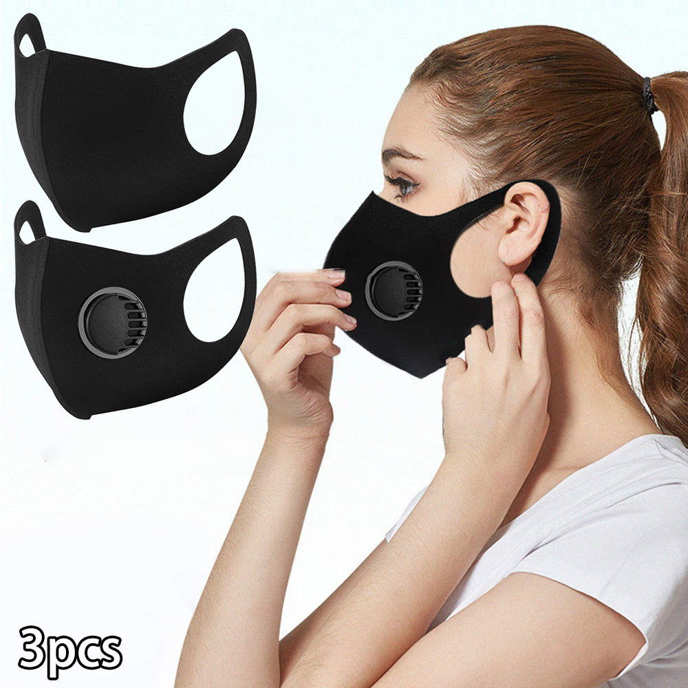 3 Pcs Reusable Cotton Mouth Face Cover Comfortable Anti-Dust  Filter Windproof Protective Accessories