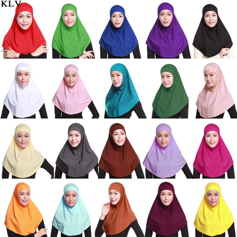 Women 2 Piece Solid Color Amira Jersey Muslim Hijab Soft Cotton Stretch Head   Scarf   with Tube Inner Underscarf Cap Hood