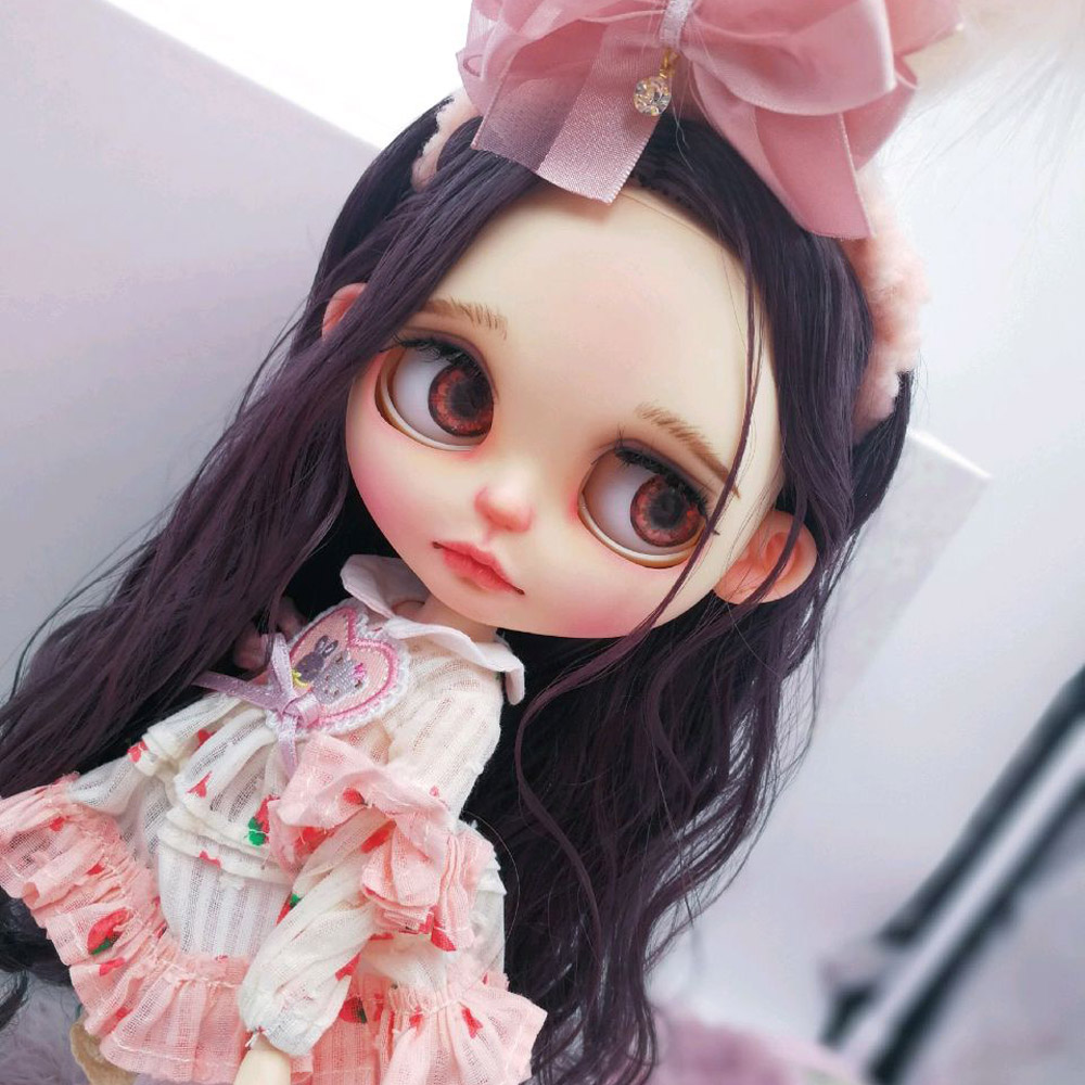 Blyth Doll NBL 1/6 BJD Customized Frosted Face,big Eyes Fashion Girl Makeup Ball Jointed Doll With Dress