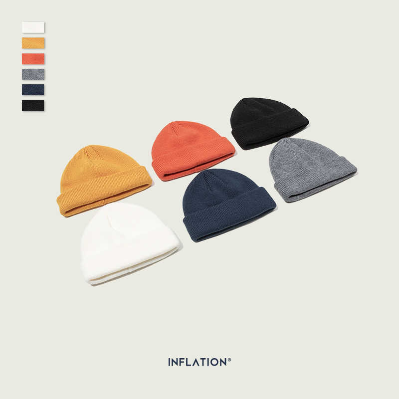 INFLATION Unisex Knit Wool Hat Autumn Winter Skullies Beanies Fashion Brand Warm Knitted Solid 5 Color Skullies Beanie 170CI2019