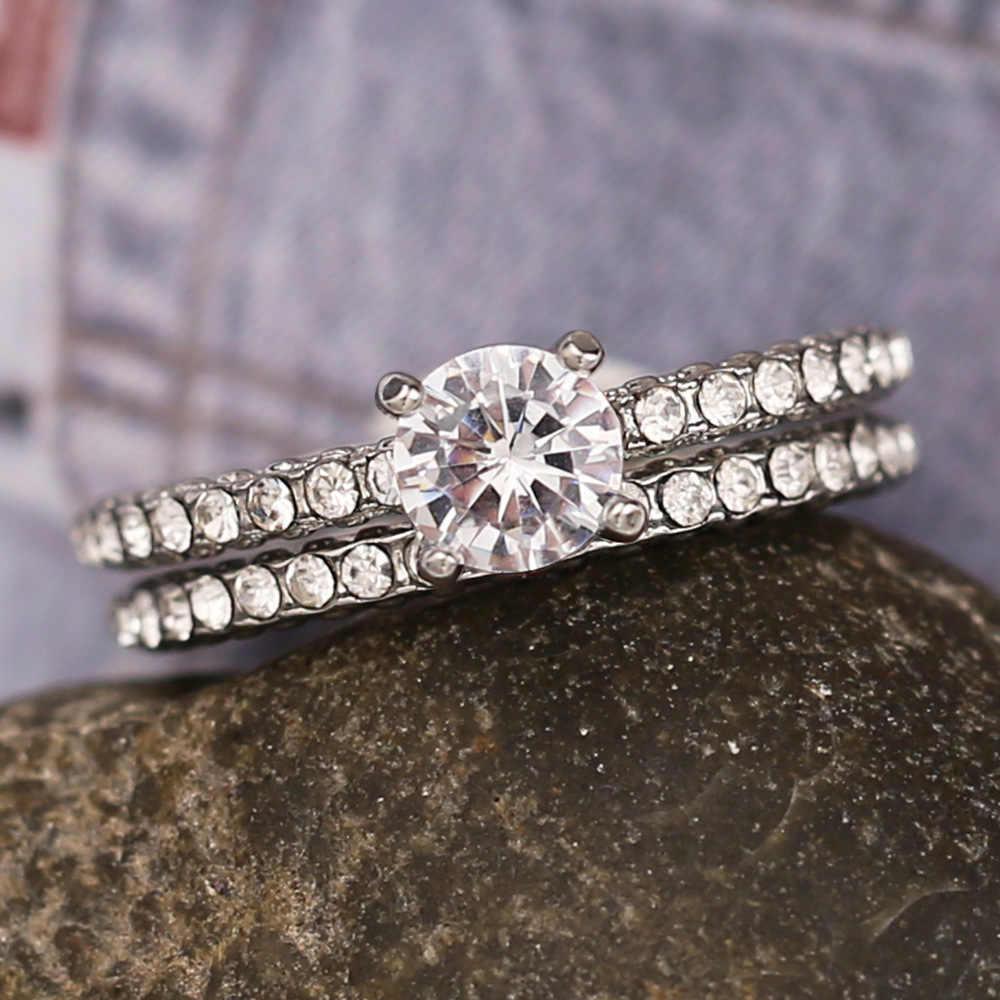 ที่ดีที่สุดขายคู่ยุโรปและอเมริกาแฟชั่นผู้หญิงแหวน Creative Rhinestones หมั้นแหวนหญิงเครื่องประดับ