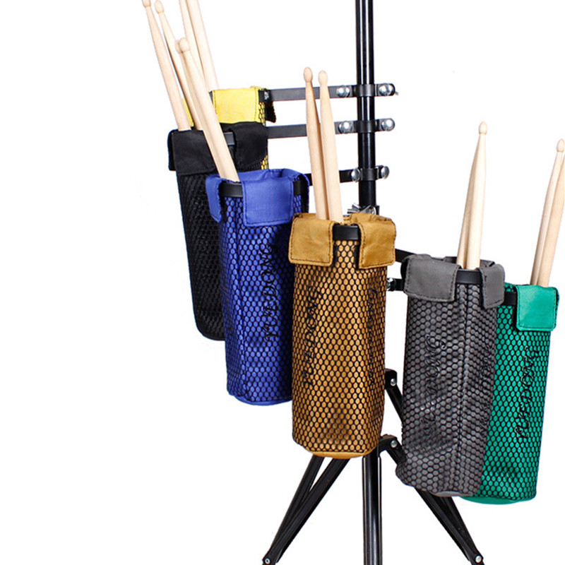 Portable Solid Mesh Drum Stick Holder Pouch Waterproof Drumsticks Storage Bag with Hanging Strap