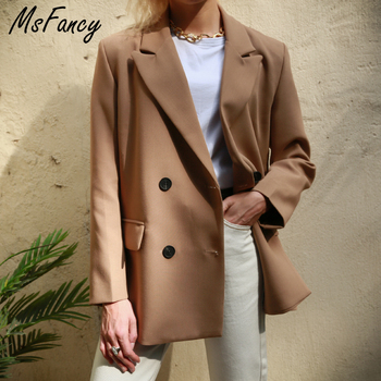 Msfancy 2021 Blazer Women Double Breasted Oversized Suits Jacket Official Ladies Loose Long Sleeve Mujer Vestido MS001