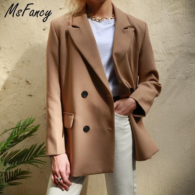 2020 Khaki Elegant Blazer Women Double Breasted Suit Blazer Official Ladies Loose Jacket MS001