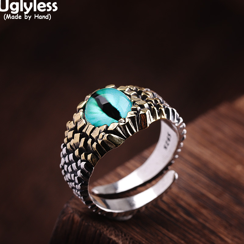 Uglyless Colorful Resin Eyes Jewelry Sets for Men Women Unisex Bumps Thai Silver Rings Pendants Necklaces NO Chains 925 Silver