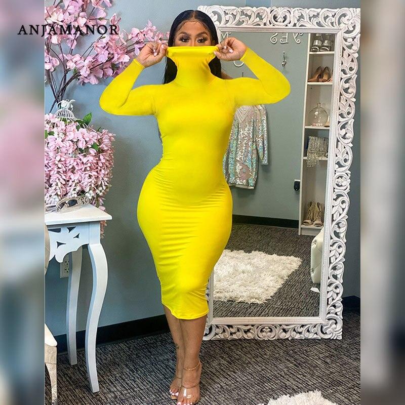 ANJAMANOR Plus Size Turtleneck Long Sleeve Dress for Women Fall 2020 Elegant Sexy Bodycon Dresses Party Night Club Wear D91 BF29|Dresses| - AliExpress