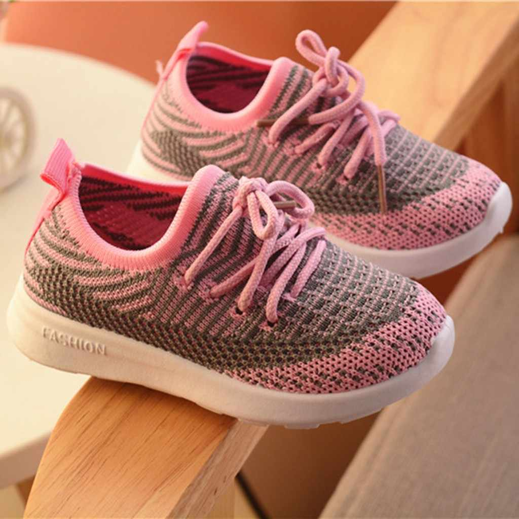 Children Shoes Infant Kids Baby Girls Boys Shoes Striped Mesh Sport Run Kids Sneakers Casual Shoes Tenis Infantil Menina Zapatos