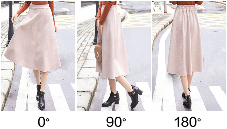 Hdcc7e147431d4f30b2369d28530a3787Z - Neophil Women Suede High Waist Midi Skirt Summer Vintage Style Elastic Ladies A Line Black Green Flare Fashion Skirt  S29A4
