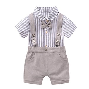 Noworodek zestaw dziecięcy z kombinezonem letnie chłopięce ubrania bawełniane w paski Top z szortami dla noworodki suknie ślubne dla dzieci wysokiej jakości