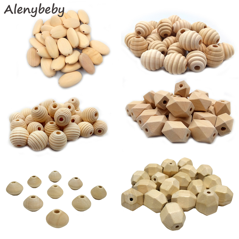 Wood Hexagon Beads Teether Unfinished Solid Wood Threaded Beads Oval Flat Beads DIY Baby Teething Jewelry Necklace Product