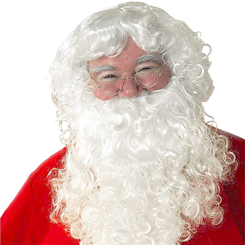 2-in-1 Santa Beard And Wig Sets Christmas Cosplay Santa Claus Costume Adjustable White Beard And Wig For Party Stage Performance