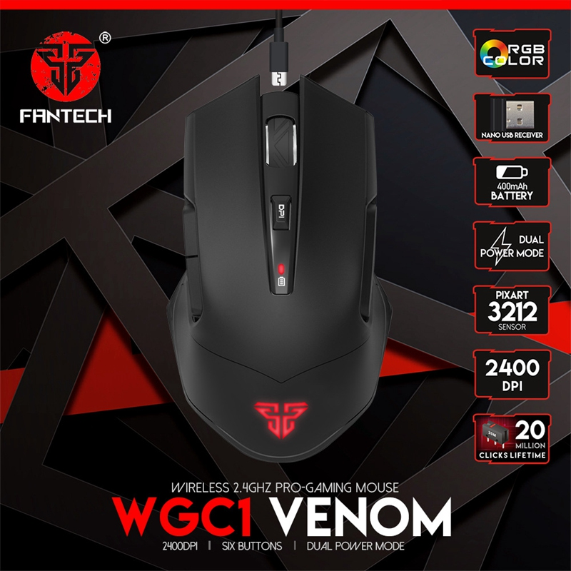 FANTECH WGC1 2.4G Wireless Mouse Charging Mute Gaming Computer Mouse Eergonomic RGB Mouse For Office Entertainment Games Laptop