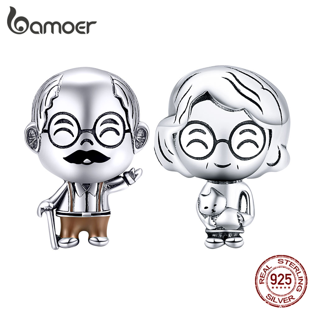 Bamoer Family Collection Grandparents Real 925 Sterling Silver Grandpa Metal Charm For Bracelet Beads Accessories BSC175