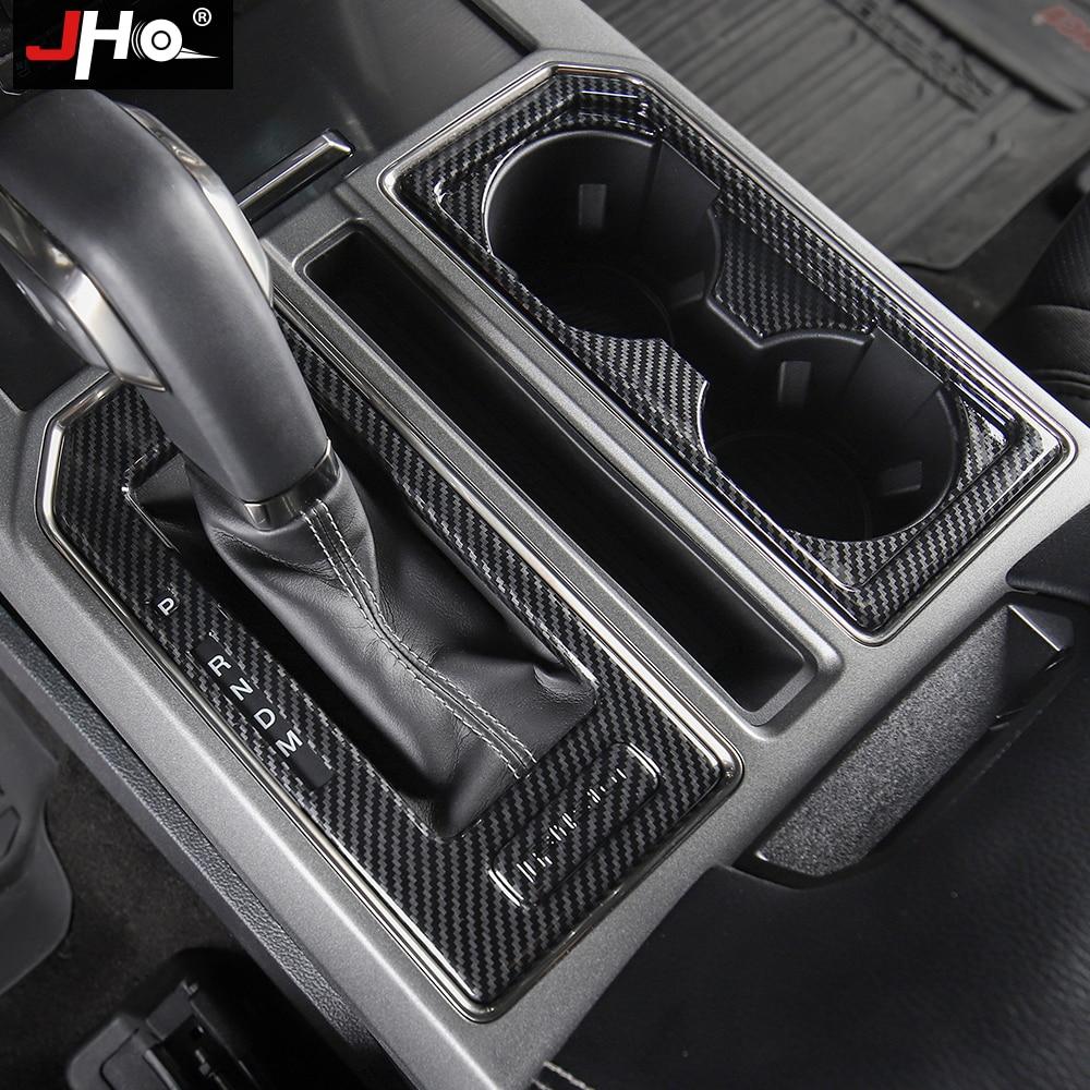 JHO-garniture de panneau en Fiber de carbone, garniture de levier de vitesse, pour Ford F150 support de verre-2016 Raptor Limited 2020, 2017, 2019
