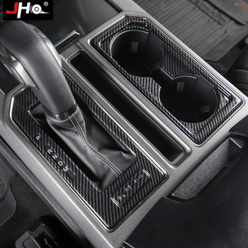 JHO ABS Carbon Fiber Grain Gear Shift Water Cup Holder Panel Cover Trim for Ford F150 2017-2019 Raptor XLT Limited Lariat 2018 abs carbon fiber grain side mirror cover trim for ford f150 2015 2019 raptor tuning reverse mirror car accessories