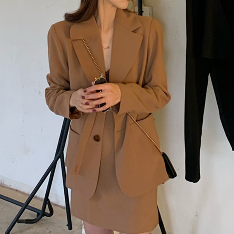 Khaki Women Pant Suits  Casual Female 2 Pieces Set Single-Breasted Blazer Jacket & High Waist  Trousers Korean Street Fashion