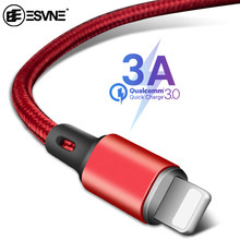 ESVNE 3A rápido de carga de Nylon Cable de datos USB para iPhone 6 7 8 X XS X XR iPad Mini Cable móvil cable cargador teléfono 0,25 M 1M 2M(China)