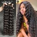 Мелоди 28 30 32 дюймов глубокая волна пряди 100% пряди человеческих волос для наращивания волос 1 3 4 пряди бразильские вьющиеся волосы пряди сдел...
