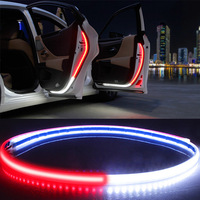 Interior del coche Luz de bienvenida para puerta advertencia de seguridad LED luz estroboscópica señal tira de la lámpara 120cm impermeable 12V Auto decorativa ambiente luces