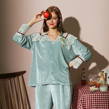 Złota aksamitna piżama zestaw koreański styl ubrania domowe kobiety bielizna nocna koronkowa piżama zimowa jesień zestaw piżam Student #8217 s Homewear tanie i dobre opinie Poliester CN (pochodzenie) 3214 Pełna Flanelowe Cotton Stałe Wiosna Skręcić w dół kołnierz M L XL Collarless Women s pajamas