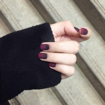 24 Uds 12 diferentes tamaños Navidad estilo oscuro cuento de hadas manzana gradiente negro rojo mate corto cuadrado uñas postizas de cobertura completa