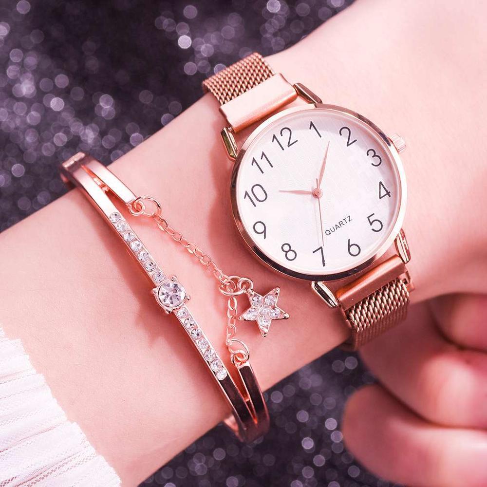 Top 2pcs Set Women Watches Bracelet Set Magnetic Mesh Band Magnet Gold Wristwatches Ladies Female Arabic Numerals Quartz Watch