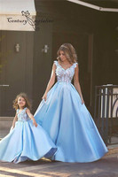 2019 Beauty Sky Blue Prom Dresses For Mother And Daughter Evening Party Gowns 3D Flowers A Line Formal Dresses Long Vestidos