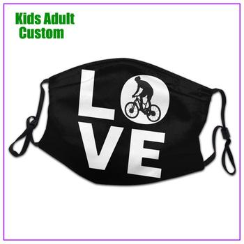 kids Men Women I Love MTB Mountain Bikers Gift face mask reusable shield virus protection washable cloth custom designs biking