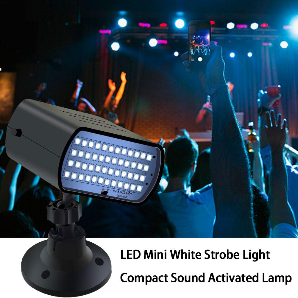 Mini 48 LED White Strobe Light Sound Activated Stage Light Disco DJ Party Holiday Flash Lamp Christmas Wedding Stage Lighting