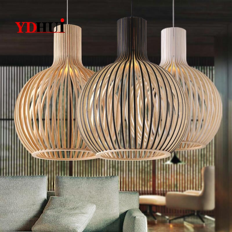 Nordic Modern Wooden Birdcage Hand-made Chandelier Restaurant Bar Bamboo Chandelier Japanese Style Art Creative Wood Lamps