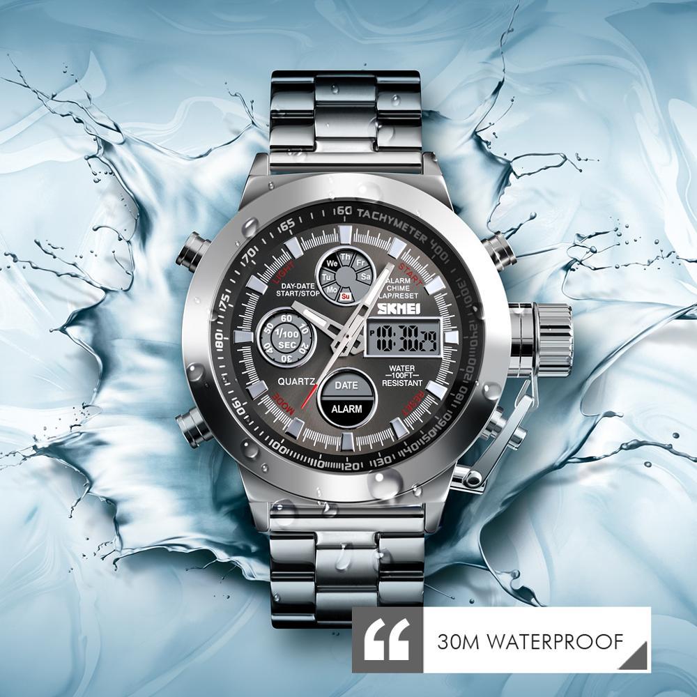 2019 SKMEI Fashion Luxury Dual Display WatchMen Watch 3Bar Waterproof Stainless Steel Strap Luminous Relogio Masculino Clock