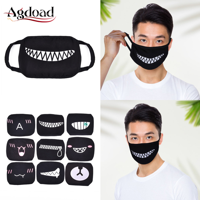 9pcs Washable Dustproof Mouth Face Mask Anime Cartoon Kpop Lucky Bear Women Men Cotton Face Mouth Masks Kids Black