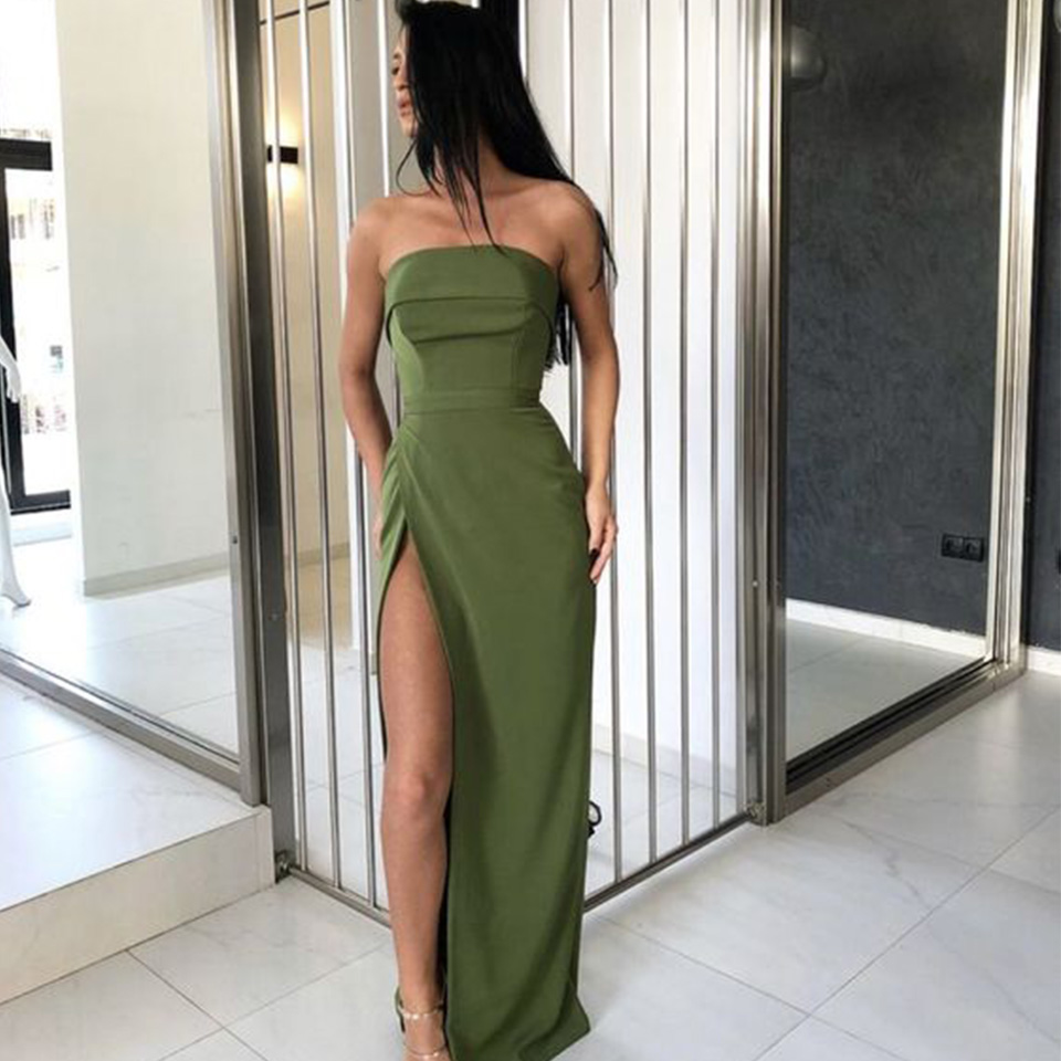 Strapless Prom Dresses 2019 High Split Long Dress For Party Floor Length Satin Sheath Formal Evening Gown Vestidos De Gala