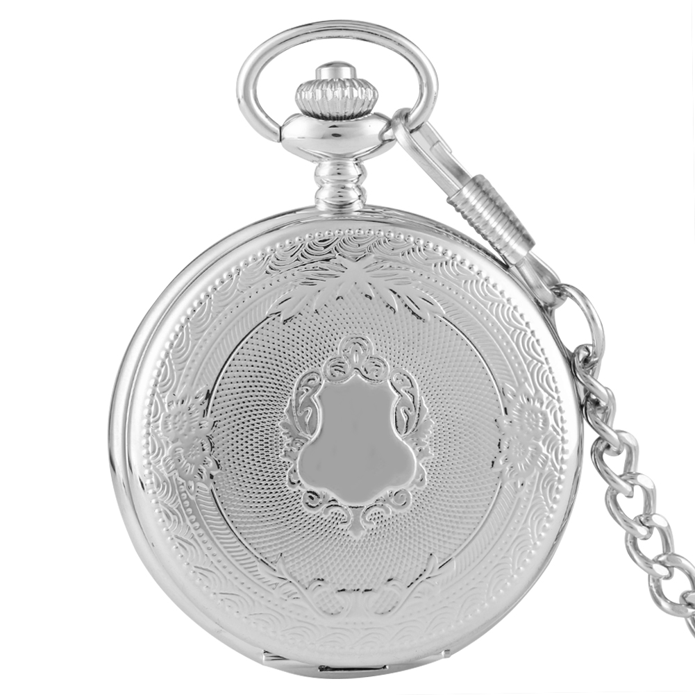 Delicate Silver Case Pocket Watch For Men Cozy Rough Chain Quartz Pendant Watches Women Accessory For Gift Relogio De Bolso