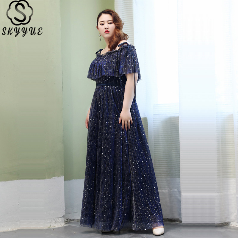 Skyyue Boat Neck Eveing Gown Short Sleeve Ruffles Women Party Dresses Sling Long Dresses Evening A-Line Robe De Soiree T105