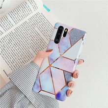 Geometric Marble Phone Case Cover For Huawei P30 P20 Mate 20 lite Pro 30 Funda Lovely Cute Soft Silicone