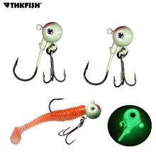 8 Pcs 5cm 14g Luminous Glow Jig Heads Fishing Hooks Freshwater Saltwater Lead Round Head Carbon Steel Treble