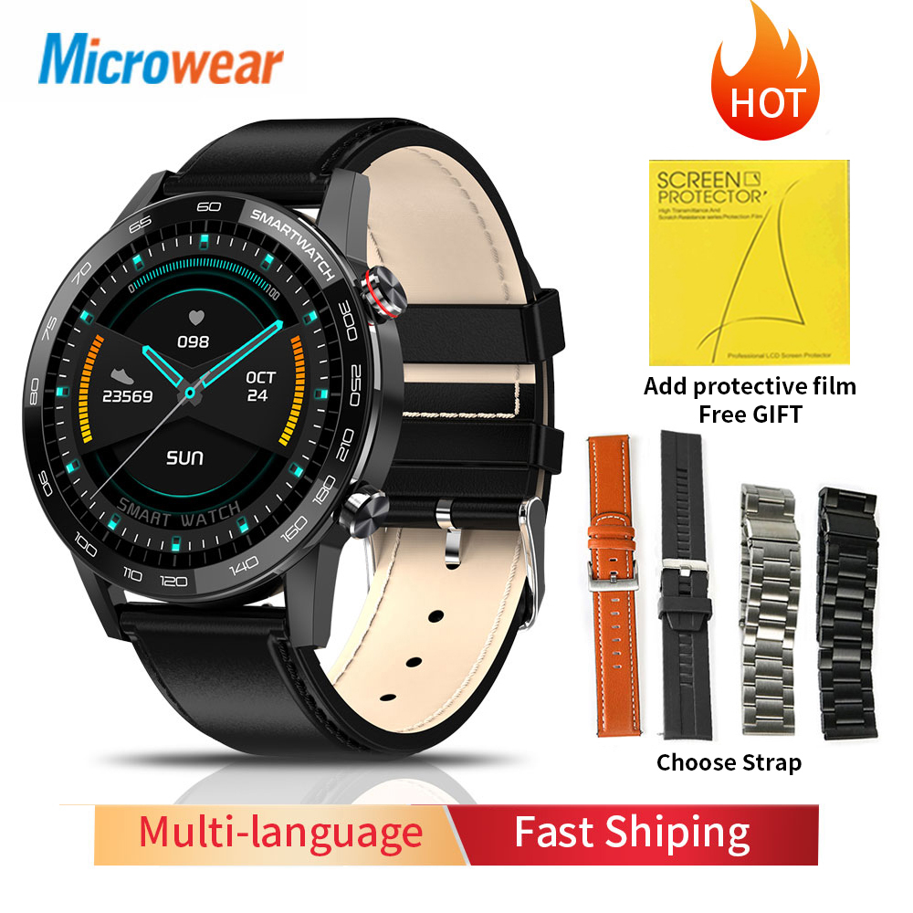 2020 New Microwear L16 Smart Watch Men IP68 Waterproof smartWatch 360*360 ECG Blood Pressure Heart Rate sport fitness Smartwatch