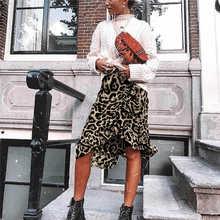 Юбки, женская уличная одежда, бохо, бодикон, Леопардовый принт, высокая талия, юбки для женщин, миди, леопардовая юбка, панк, уличная одежда, корейский стиль