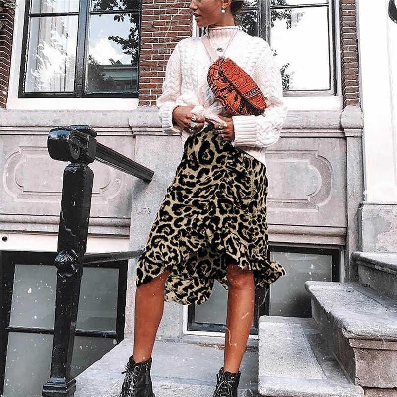 Skirts 2020 women streetwear boho bodycon leopard print high waist skirts womens midi leopard skirt punk streetwear korean style(China)