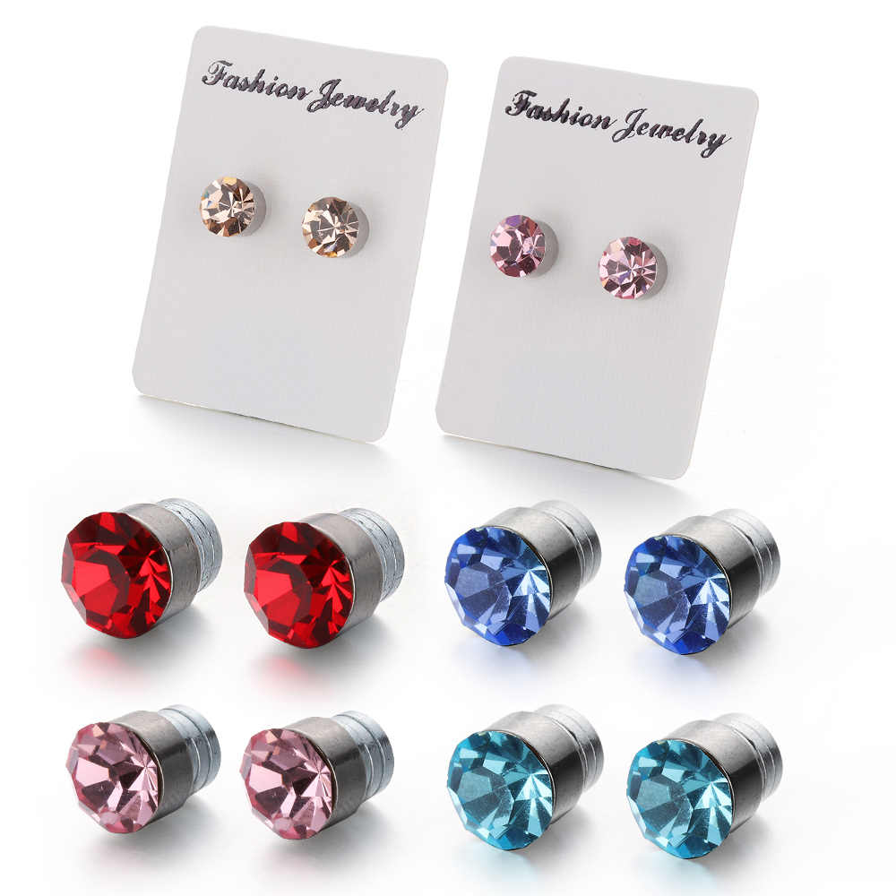 1Pair New Fashion Magnetic Slimming Earrings Crystal Loss Weight Ear Studs Lazy Paste Stimulating Acupoints Healthy Jewelry