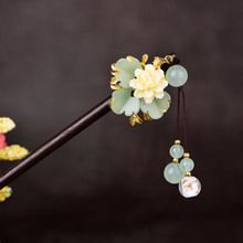 Jade Stone Flowers Hair Sticks Hairpin Charm Jadeite Jewelry Carved Amulet Fashion Accessories Natural Chinese Gifts for Women
