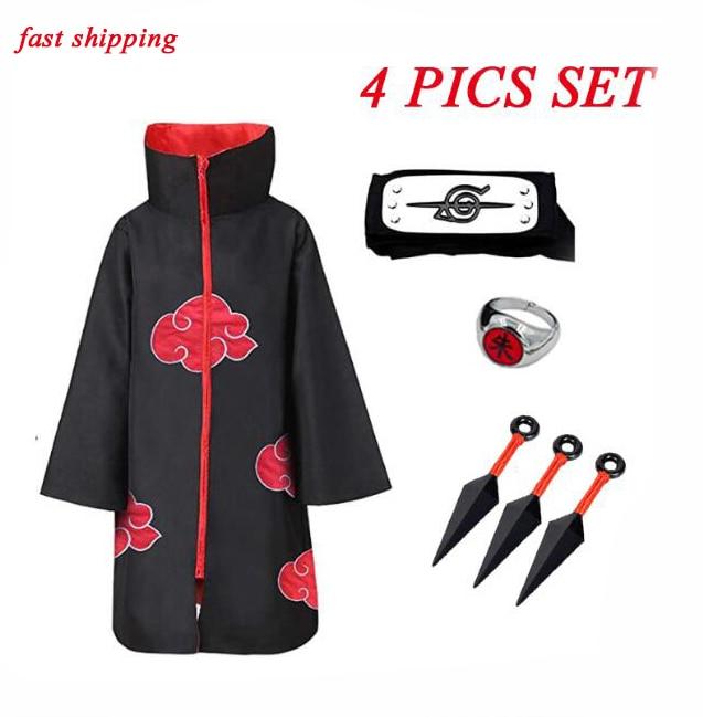 Плащ акацуки плащ Хокаге Учиха полный Косплэй костюм плащ Акацуки повязка кольцо; Детский костюм на Хэллоуин; Для мужчин для детей