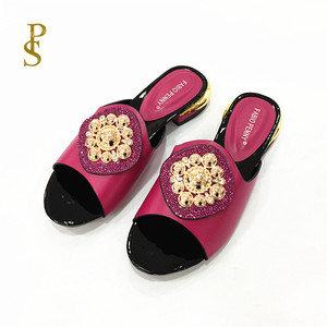 Image 4 - African style womens shoes slippers with metal trim and rhinestones for ladies