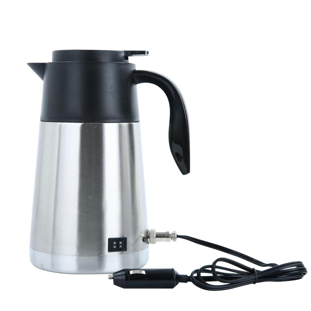 12V 24V 1300ML Car Electric Heated Kettle Steel Bottle Heating Cup Boiling Water Car Heating Cup Hot Water Warmer Travel Tea Cup