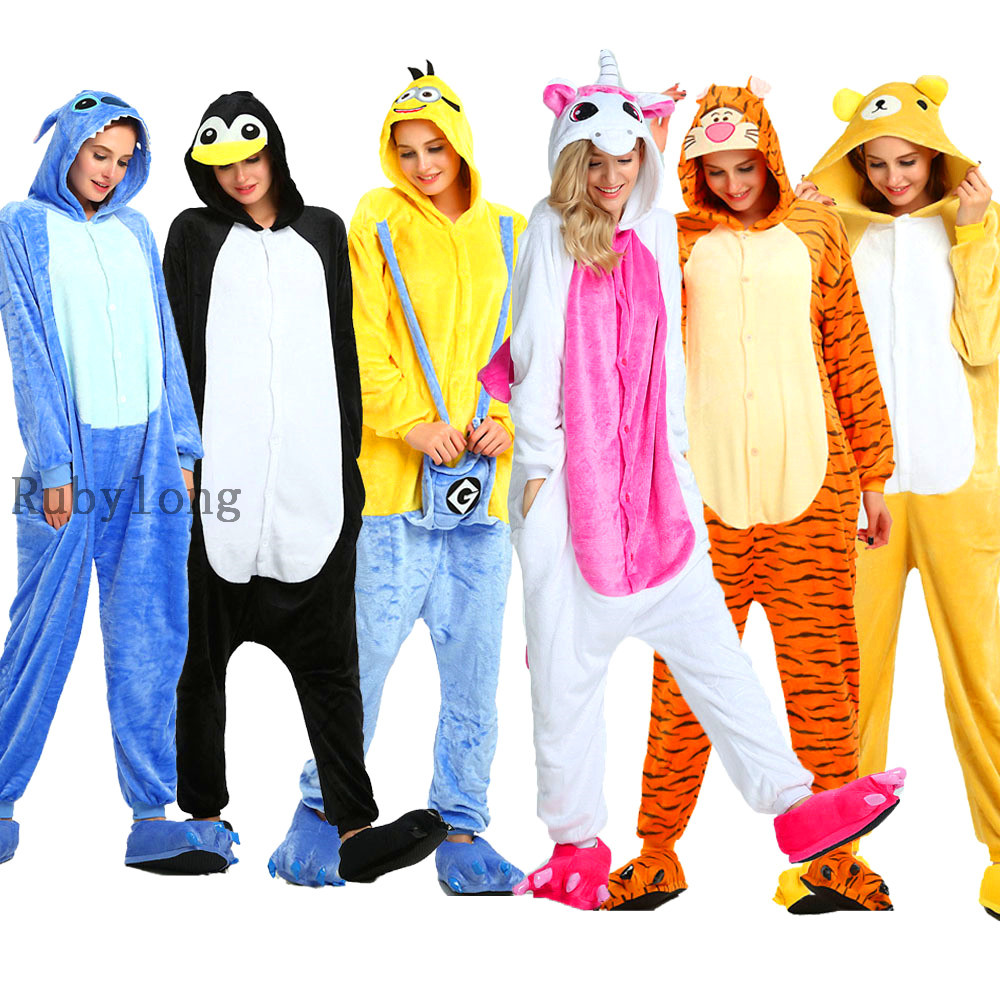 Adults Pajamas Women Flannel Sleepwear Unisex Kigurumi Cute Unicorn Stitch Pig Cartoon Animal Pajama Sets Pijamas Hooded Pyjamas