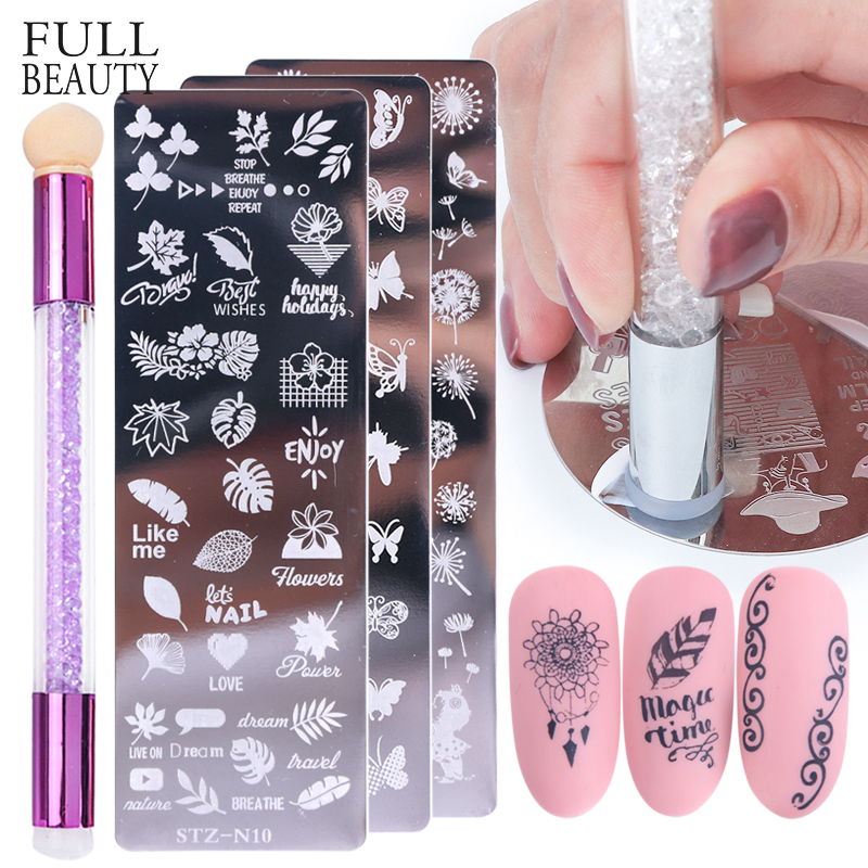 Nail Stamping Plates Set Silicone Sponge Brush Polish Transfer Stencils Flower Geometry DIY Template for Nail Tool CHSTZN01-12-2(China)